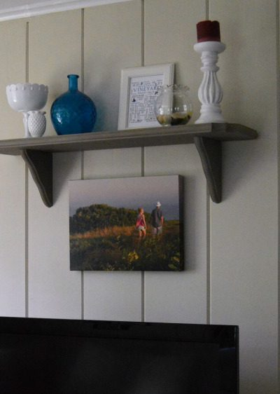 Decorating Around the TV:  A summer inspired shelf with Annie Sloan Chalk Paint