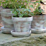 Dry Brush Painted Flower Pots