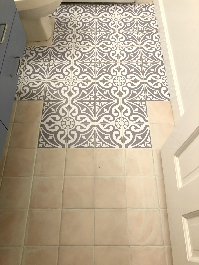 Updating The Bathroom Floor With Tile Stickers