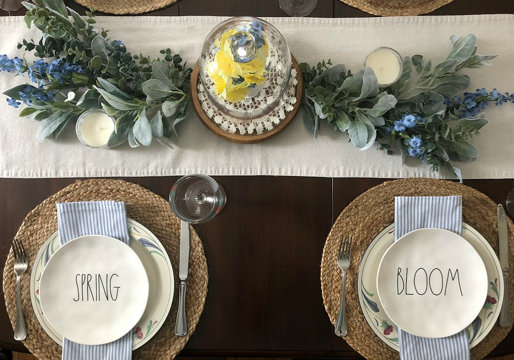 A Simple Spring Table with a Greenery Table Runner
