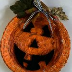 Wicker Paper Plate Holder Pumpkin