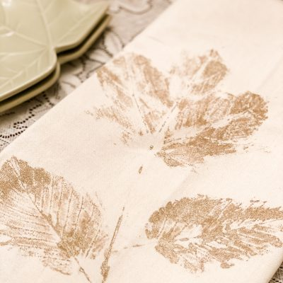 Leaf Stamped Tea Towels